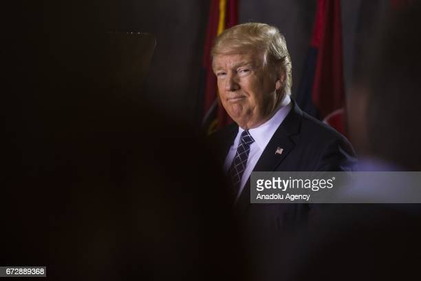 President Donald Trump speaks during the US Holocaust Memorial Museums National Days of Remembrance ceremony in the Rotunda of the US Capitol in...
