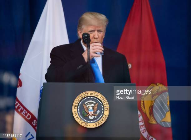 President Donald Trump speaks during the Veterans Day Parade opening ceremony on November 11 2019 in New York City