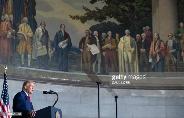 President Donald Trump speaks during the White House Conference on American History at the National Archives in Washington, DC, September 17, 2020.