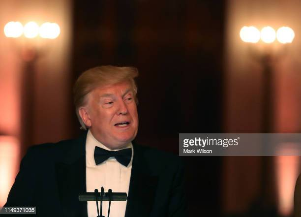 S President Donald Trump speaks during the White House Historical Association Dinner in the East Room of the White House on May 15 2019 in Washington...