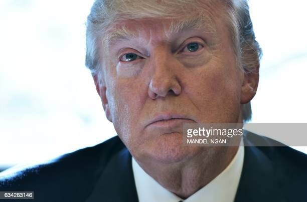 President Donald Trump speaks following a meeting with Intel CEO Brian Krzanich in the Oval Office of the White House on February 8 2017 in...