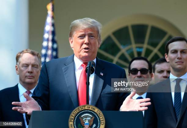 US President Donald Trump speaks from the Rose Garden of the White House in Washington DC remarking on the United StatesMexicoCanada Agreement on...