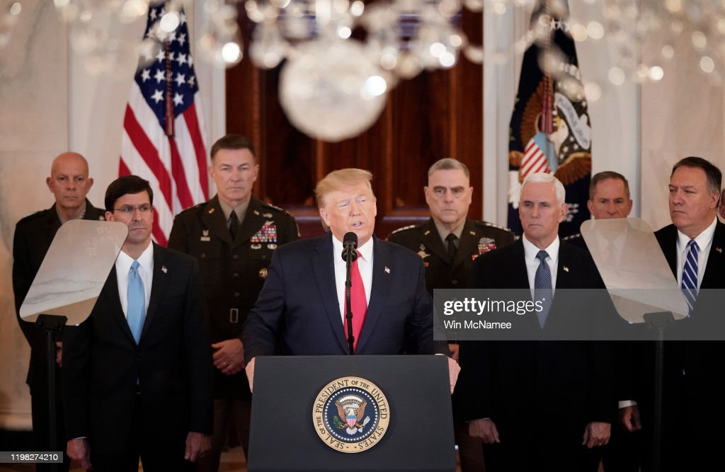 President Trump Addresses The Nation After Iranian Attacks In Iraq Target Bases Where U.S. Troops Stationed : News Photo