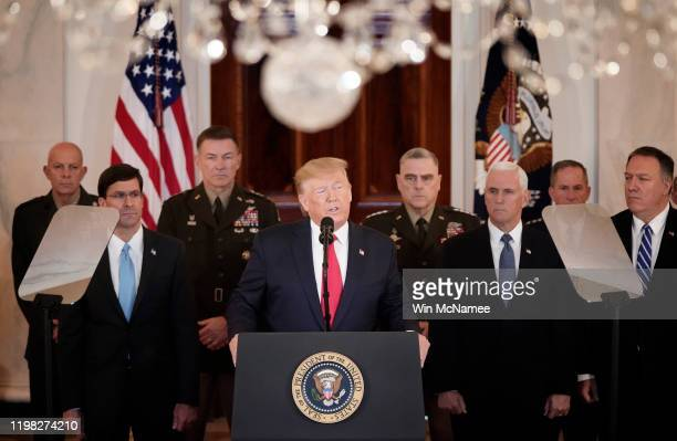 S President Donald Trump speaks from the White House on January 08 2020 in Washington DC During his remarks Trump addressed the Iranian missile...
