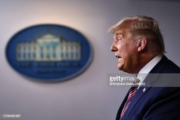President Donald Trump speaks in the Brady Briefing Room at the White House in Washington, DC on November 5, 2020. - Democrat Joe Biden is leading...