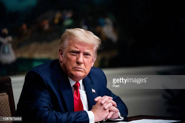 President Donald Trump speaks in the Diplomatic Room of the White House on Thanksgiving on November 26, 2020 in Washington, DC. Trump had earlier...
