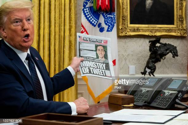 President Donald Trump speaks in the Oval Office before signing an executive order related to regulating social media on May 28, 2020 in Washington,...