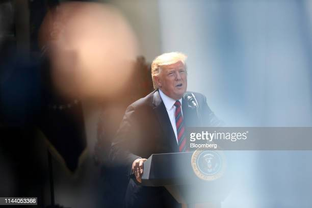 US President Donald Trump speaks in the Rose Garden of the White House in Washington DC US on Thursday May 16 2019 Trump is unveiling a new plan to...