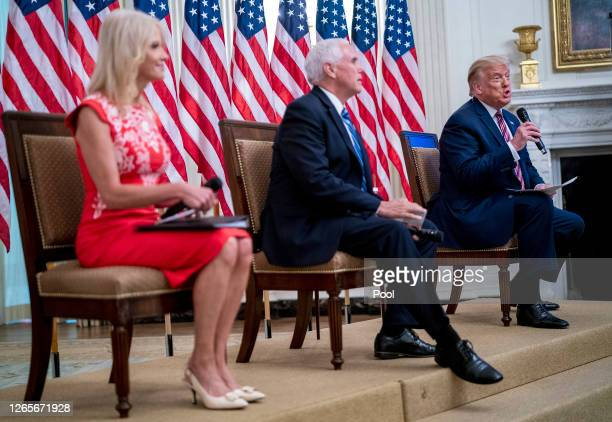 """S President Donald Trump speaks in the State Dining Room during an event titled """"Kids First Getting America's Children Safely Back to School"""" August..."""