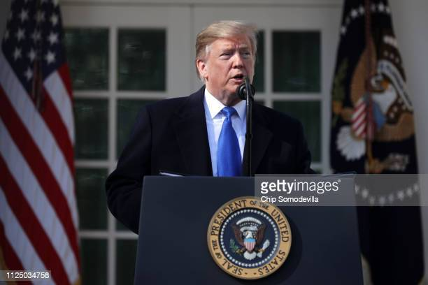 S President Donald Trump speaks on border security during a Rose Garden event at the White House February 15 2019 in Washington DC President Trump is...