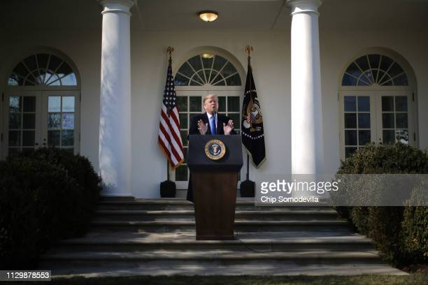 S President Donald Trump speaks on border security during a Rose Garden event at the White House February 15 2019 in Washington DC Trump said he...