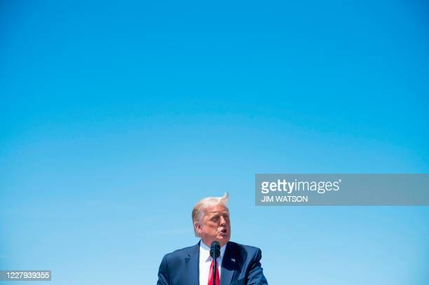President Donald Trump speaks on economic prosperity, at Burke Lakefront Airport in Cleveland, Ohio, on August 6, 2020.