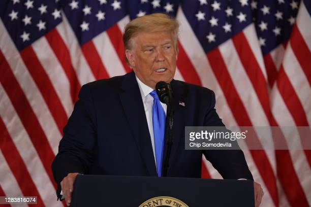 President Donald Trump speaks on election night in the East Room of the White House in the early morning hours of November 04, 2020 in Washington,...