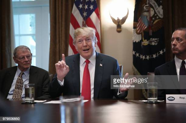S President Donald Trump speaks on immigration issues while meeting with members of the US Congress in the Cabinet Room of the White House June 20...