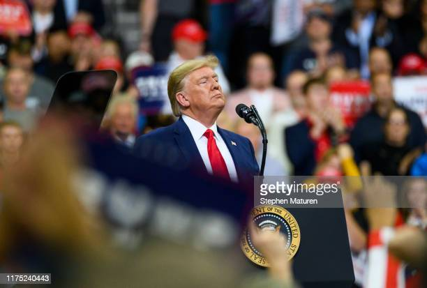 President Donald Trump speaks on stage during a campaign rally at the Target Center on October 10, 2019 in Minneapolis, Minnesota. The rally follows...