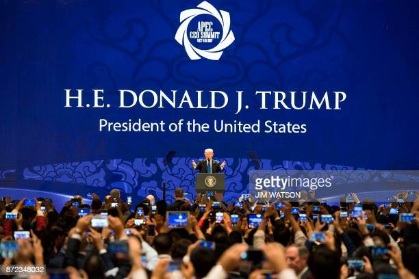 President Donald Trump speaks on the final day of the APEC CEO Summit part of the broader AsiaPacific Economic Cooperation leaders' summit in the...