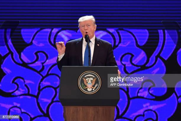 US President Donald Trump speaks on the final day of the APEC CEO Summit part of the broader AsiaPacific Economic Cooperation leaders' summit in the...