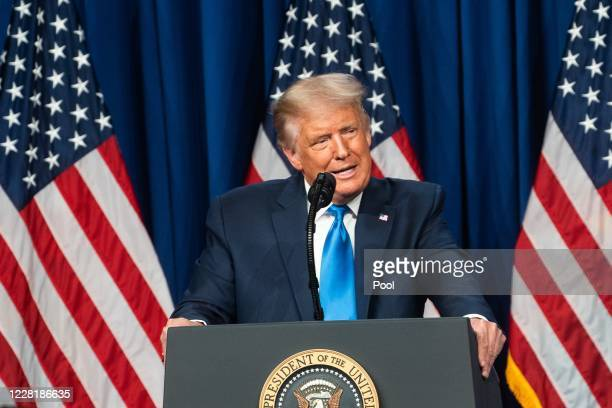 President Donald Trump speaks on the first day of the Republican National Convention at the Charlotte Convention Center on August 24, 2020 in...