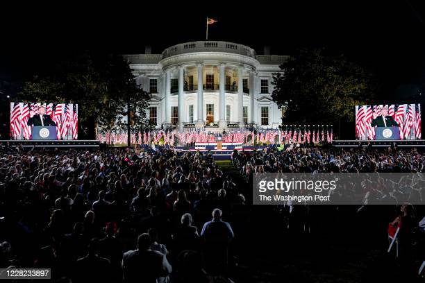 President Donald Trump speaks on the fourth and final night of the Republican National Convention with a speech delivered in front a live audience on...