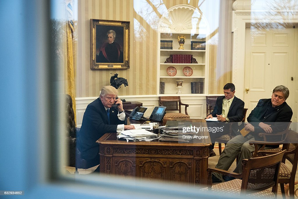 Donald Trump Speaks With Australian PM Turnbull From The White House : News Photo