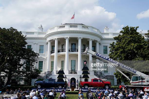 President Donald Trump speaks on the South Lawn of the White House on July 16, 2020 in Washington, DC. On Wednesday, President Trump announced a...