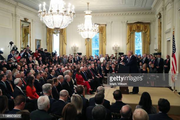 S President Donald Trump speaks one day after the US Senate acquitted on two articles of impeachment in the East Room of the White House February 6...