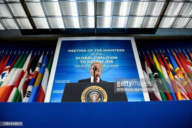President Donald Trump speaks the Ministers of the Global Coalition to Defeat ISIS at the US Department of State February 6 2019 in Washington DC...