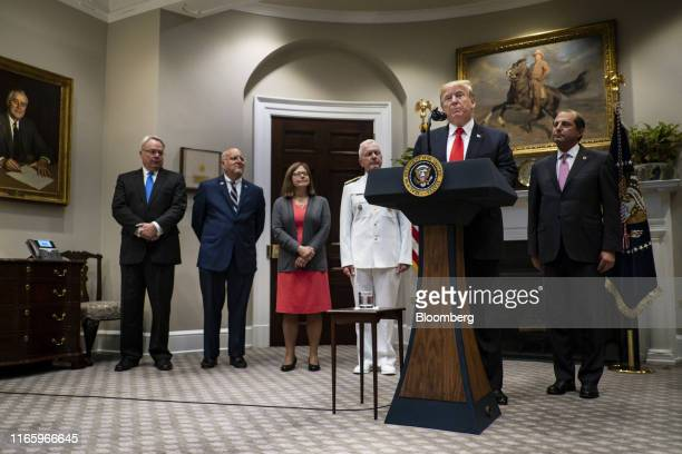 US President Donald Trump speaks the Roosevelt Room of the White House in Washington DC US on Wednesday Sept 4 2019 The Trump administration...