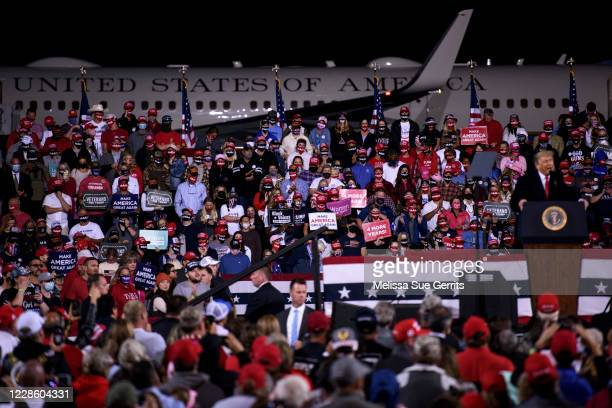President Donald Trump speaks to a crowd during a Make America Great Again campaign rally on September 19, 2020 in Fayetteville, North Carolina....