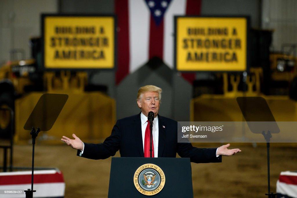 President Trump Visits Union Training And Apprenticeship Center In Ohio : News Photo