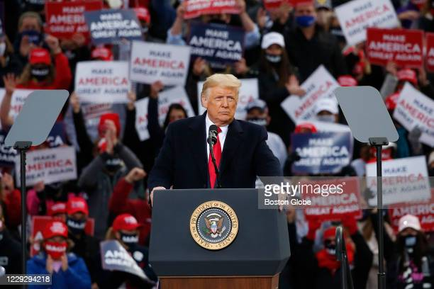 President Donald Trump speaks to a crowd of supporters at a 2020 election campaign event in Londonderry, NH on Oct. 25, 2020.