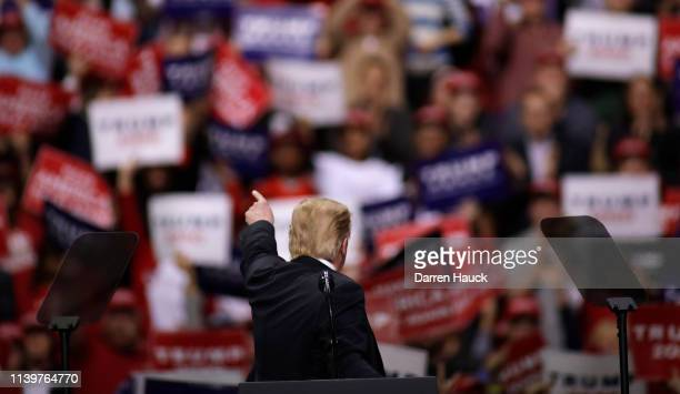 President Donald Trump speaks to a crowd of supporters at a Make America Great Again rally on April 27 2019 in Green Bay Wisconsin
