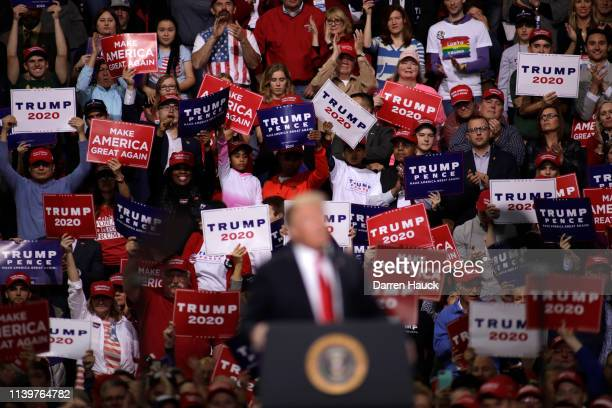President Donald Trump speaks to a crowd of supporters at a Make America Great Again rally on April 27, 2019 in Green Bay, Wisconsin.