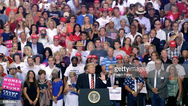 S President Donald Trump speaks to a crowd of supporters at the Phoenix Convention Center during a rally on August 22 2017 in Phoenix Arizona