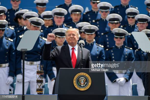 President Donald Trump speaks to cadets at the United States Air Force Academy graduation ceremony on May 30 2019 in Colorado Springs Colorado