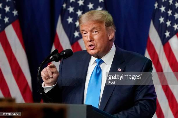 President Donald Trump speaks to delegates on the first day of the Republican National Convention at the Charlotte Convention Center on August 24,...