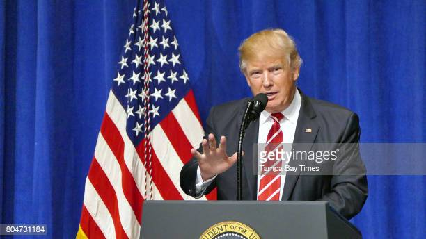 President Donald Trump speaks to members of military during his first visit to the headquarters of the US Central Command at MacDill Air Force Base...