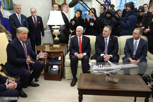 S President Donald Trump speaks to members of the media during a meeting with President of Paraguay Mario Abdo Benitez as National Security Advisor...