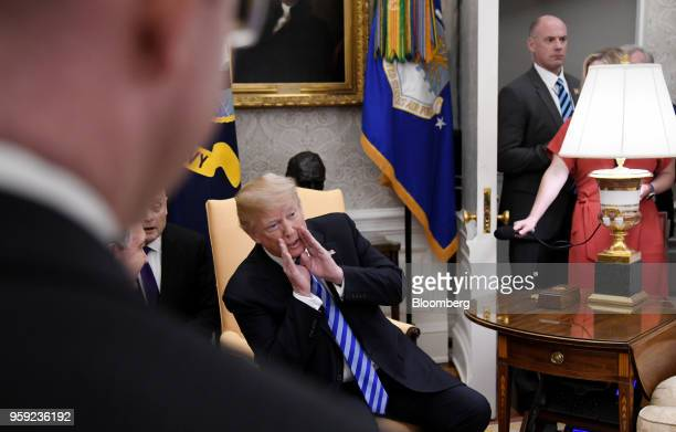 US President Donald Trump speaks to members of the media during a meeting with Shavkat Mirziyoev Uzbekistan's president in the Oval Office of the...