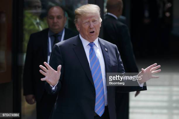 US President Donald Trump speaks to members of the media following a meeting during the Group of Seven Leaders Summit in La Malbaie Quebec Canada on...