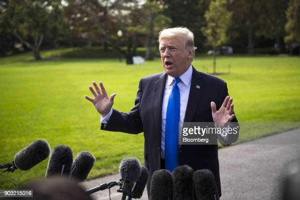 S President Donald Trump speaks to members of the media on the South Lawn of the White House in Washington DC US on Wednesday Oct 25 2017 Trump will...