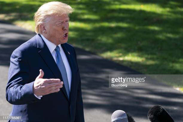 US President Donald Trump speaks to members of the media outside of the White House in Washington DC US on Wednesday Oct 23 2019 Trump had advance...
