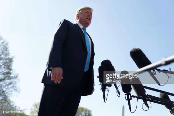 S President Donald Trump speaks to members of the media prior to his departure from the White House April 10 2019 in Washington DC President Trump...