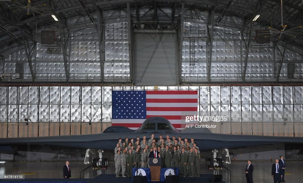 US President Donald Trump speaks to members of the military at Joint Andrews Airforce base, Maryland on September 15, 2017. /