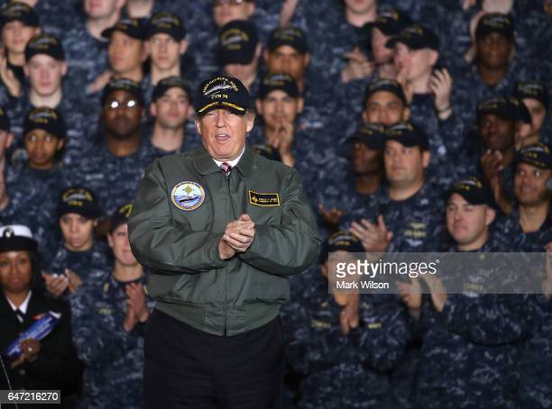 S President Donald Trump speaks to members of the US Navy and shipyard workers on board the USS Gerald R Ford CVN 78 that is being built at Newport...