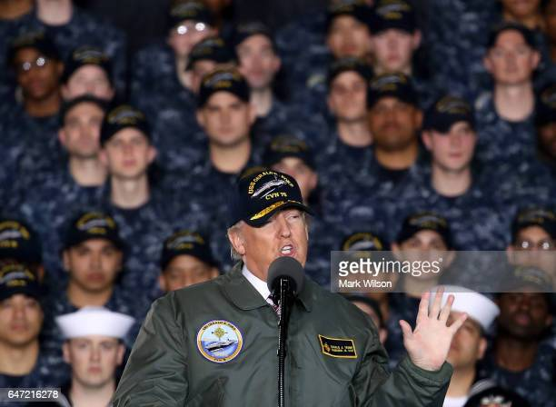 President Donald Trump speaks to members of the U.S. Navy and shipyard workers on board the USS Gerald R. Ford CVN 78 that is being built at Newport...