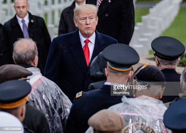 US President Donald Trump speaks to military personnel during the American Commemoration Ceremony at the Suresnes American Cemetery in Paris France...