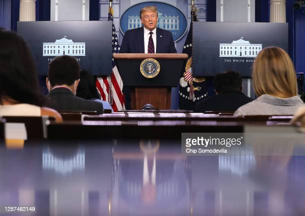President Donald Trump speaks to reporters during a news conference in the Brady Press Briefing Room at the White House July 21, 2020 in Washington,...