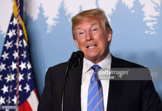 US President Donald Trump speaks to reporters on June 9 during the G7 Summit in La Malbaie Quebec Canada