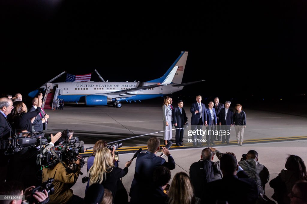 President Trump Greets Secretary Of State Pompeo And American Detainees At Joint Base Andrews : News Photo